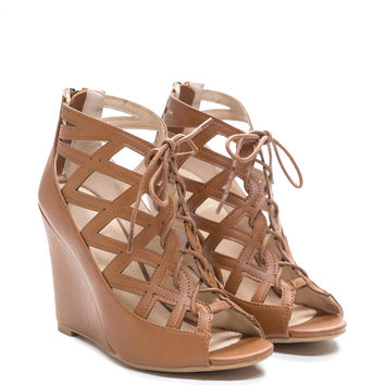 All My X's Caged Lace-Up Wedges