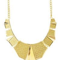 Gold Geometric Glitter Bib Necklace by Charlotte Russe