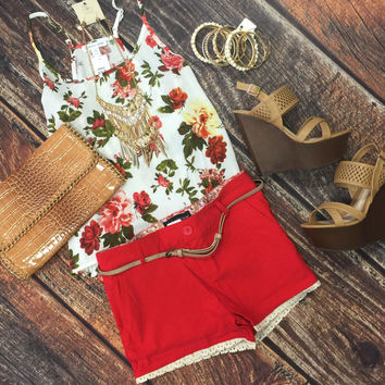 Belted Trim Shorts: Red