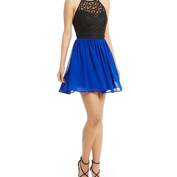 B. Darlin Lace Bodice Halter Neck Color Block A-Line Dress | Dillards
