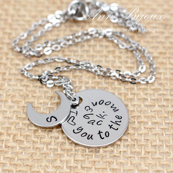 I Love You To The Moon and Back, Moon and Back Necklace, Personalized Hand Stamped Mother Necklace, Stainless Steel Moon and Back Necklace