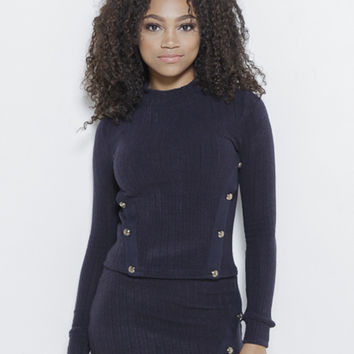 Just Intentional Knit LS Top-Navy