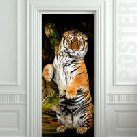 Door STICKER tiger wildlife zoological animal zoo mural decole film self-adhesive poster 30x79inch(77x200 cm)