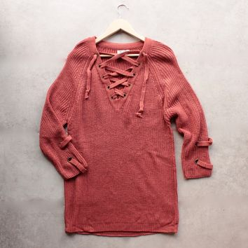 lace up grommet sweater - marsala
