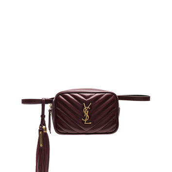 Saint Laurent Monogramme Lou Hip Belt with Pouch in Legion Red | FWRD