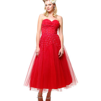 Authentic Vintage 1940s Red Tulle & Lace Strapless Prom Dress - Sz 4