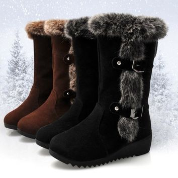 High Quality Fashion Women Fur Lined Wedge Snow Boots Tall Boots Women Winter Warm Ankle Boots Shoe