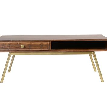 Obra Mid-Century Modern Coffee Table Dark Brown / Gold Legs