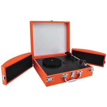 Pyle Pro(R) PVTTBT8OR Bluetooth(R) Classic Vinyl Record Player Turntable with Fold-Out Speakers & Vinyl to MP3 Recording (Orange)