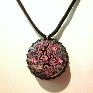 Camo Browning Buck and Doe Heart Bottlecap Suede Leather Black Necklace