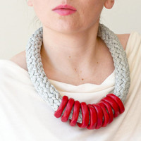 Tribal Jewelry, Red Necklace, Tribal Necklace, Fiber Necklace, Knit Necklace, Statement Necklace
