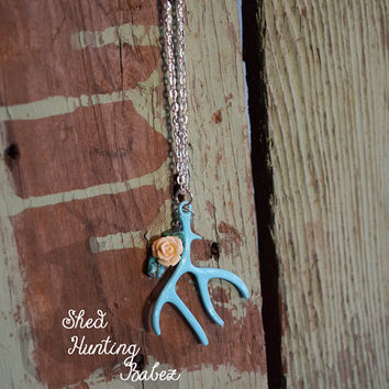 Deer Antler Charm Necklace Turquoise Rose / Antler Necklaces