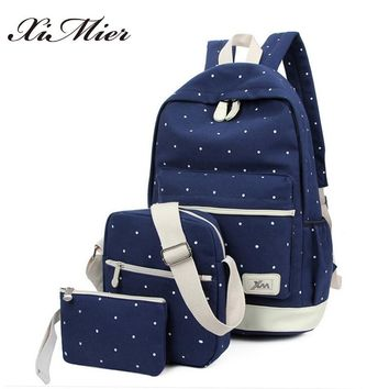 canvas backpack women dot school bag for teenagers girls Preppy Style composite bags set travel high quality female backpacks