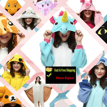 22 Styles More Unisex Adult Pokemon Go Unicorn Tony Fleece Pajamas Kigurumi Bear Cats Cosplay Costume Animal Onesuit Sleepwear