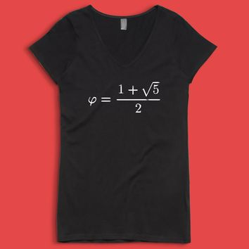 Golden Ratio Phi Formula Math Mathematics Women'S V Neck