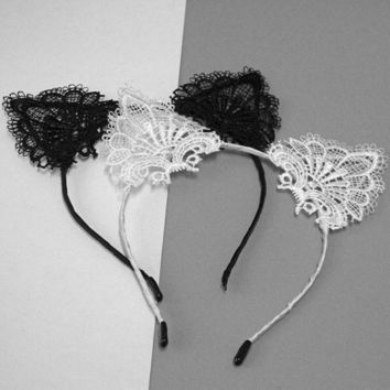 ESBG8W 2017Women Cute Cat Kitty Costume Ear Party Lace Hairbands New Fashion Funny  Headbands Lady Kids Hair Head Band Accessories