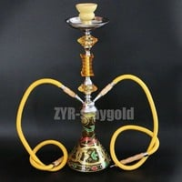 Color options narguile hookah set complete chicha 2 hoses glass nargile with ceramic bowl 52.8cm shisha smoking water pipe Yellow