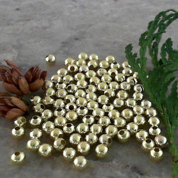Golden Colour 4mm Brass Round Seamless Spacer Beads CC-80756