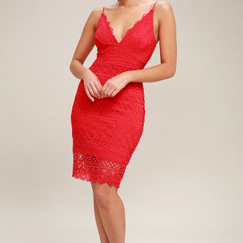 Miami Nights Red Crochet Lace Bodycon Dress
