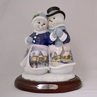 Thomas Kinkade Figure-Snow Joyful Snow Couple New  Item 0107942006 COA