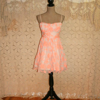 Peach Lace Dress Short Prom Dress Party Dress Spring Summer Spaghetti Strap Dress Fit & Flare Dress Full Skirt Size 6 Small Womens Clothing