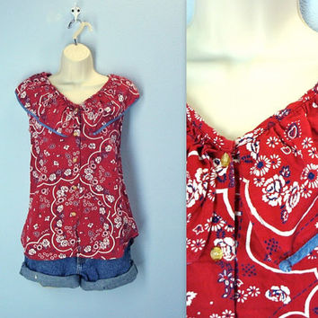 Vintage Hankie Blouse / Red Bandana Summer Top / 80s Blouse