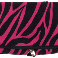 Cosmetic Makeup Bag Pink Black Zebra Travel Kit Folding Pouch Organizer Case
