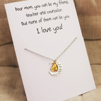 Love You Mom Moon and Heart Woman Pendant Stone Necklace