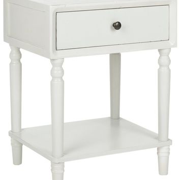 Siobhan Accent Table With Storage Drawer Shady White