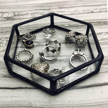 Jewelry Dish, Ring Dish, Hexagon Ring Dish, Jewelry Tray, Hexagon, Jewelry Storage, Vanity Tray, Catch All, Vanity, trinket dish, black,