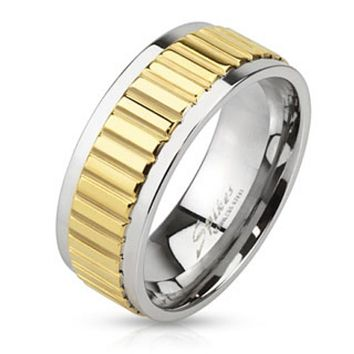 Groove Lined Gold IP Center Stainless Steel Band Ring