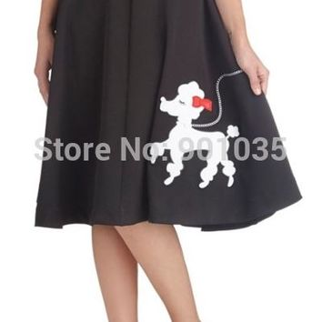 Free Shipping  Rock N Roll 50's Polka Dot Poodle Swing Skirt Grease Rockabilly size 8-16