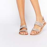 ASOS FI Embellished Leather Flat Sandals at asos.com