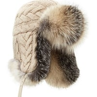 Cashmere Knit Trapper Hat with Fox Fur - Inverni - Beige (NO SZE)