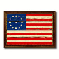 Cowpens US Historical Revolutionary War Military Flag Vintage Canvas Print with Brown Picture Frame Gifts Ideas Home Decor Wall Art Decoration