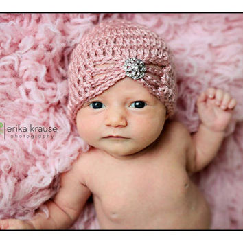 Baby Turban hat flapper hat butterfly Turban Hat rhinestone button Vintage Cloche Photo Prop Newborn Crochet baby turban baby girl hat prop