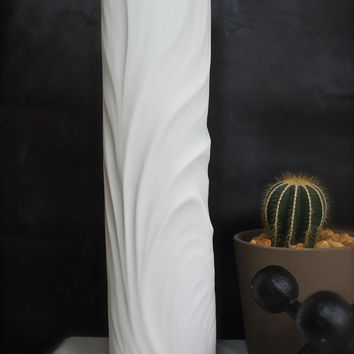 Tall West German Modernist Matte White Porcelain Vase by Thomas