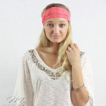 Stretch Wide Lace headband, Coral, Floral Lace head wrap, Bohemian, Lace hair bands, Head wraps, Fashion Hair accessory for women