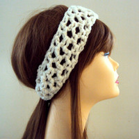 Crochet Head Band With Elastic Closure Ivory Off White Spring Summer Fall Winter Women Girls Clothing Hair Accessories Gift Ideas Under 20
