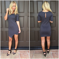 Asymmetrical Nylon Dress - CHARCOAL GREY