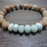 Amazonite/Picture Jasper/Boho Stacking Bracelet/Mint/Sienna
