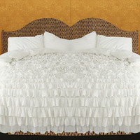 1000TC Egyptian Cotton White Ruffle Duvet Quilt Cover Set 3pc - Available in All Size