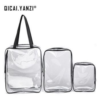 QICAI.YANZI 3pcs/set Travel Transparent Waterproof Toiletry Wash Bathing Supplies Storage Bag Makeup Cosmetic Bags PVC PouchS427