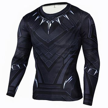 Men's Black Panther Compression Shirt Crossfit Long Sleeve T-shirt Men The Flash Print Fitness Top Base Layer Brand Clothing