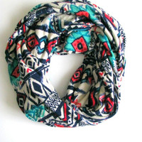 Aztec Print Infinity Scarf, Soft Jersey Loop Scarf, tribal southwestern print