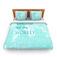 "Catherine Holcombe ""Welcome to my World Quote"" Fleece Duvet Cover"