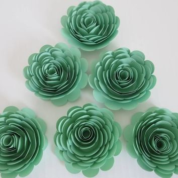 "Mint Party Decorations, 6 seafoam Green Roses, 3"" paper flowers set, Gender neutral baby shower decor, Nursery wall decor, Wedding supplies"
