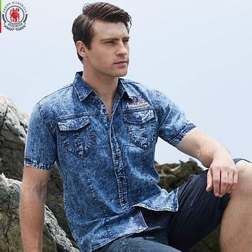 New Men Shirt Short Sleeve Denim Shirt Men Casual Dress Male Jean Shirts High Quality Cotton