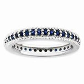 Sterling Silver Polished Created Sapphire Eternity Ring, Size 9