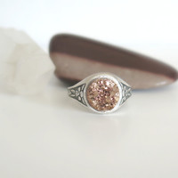 Faux Druzy Ring - Rose Gold - Druzy Ring - Adjustable